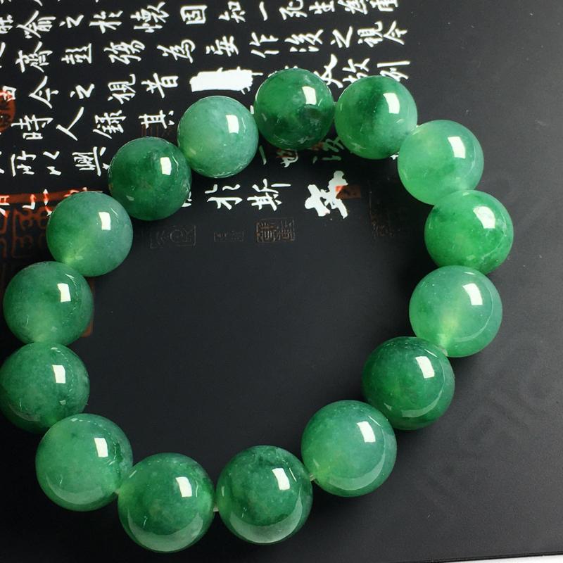 冰糯种翠绿佛珠手串 佛珠尺寸14毫米 种好水润 翠色艳丽