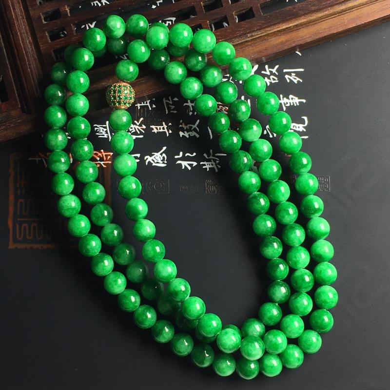 糯种满色佛珠项链 佛珠尺寸6毫米 玉质水润 色浓艳丽