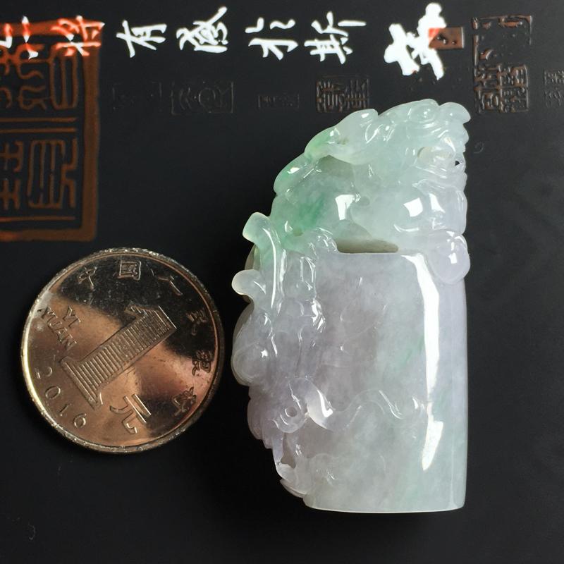 糯种双彩貔貅印章 尺寸45-23-14毫米 玉质水润 色彩亮丽 雕工精湛