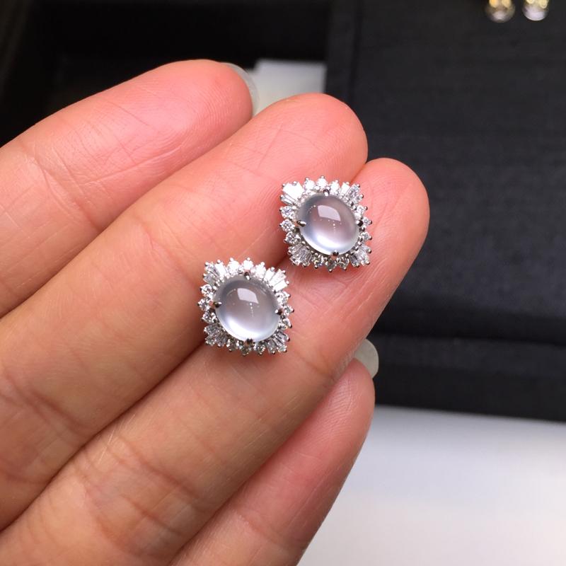 【一对高冰耳钉,底庄细腻,18K金南非真钻镶嵌,无纹裂,性价比高,推荐,尺寸12*10.8*7/6.6*5.6*3.8mm,重量2.42g】图8