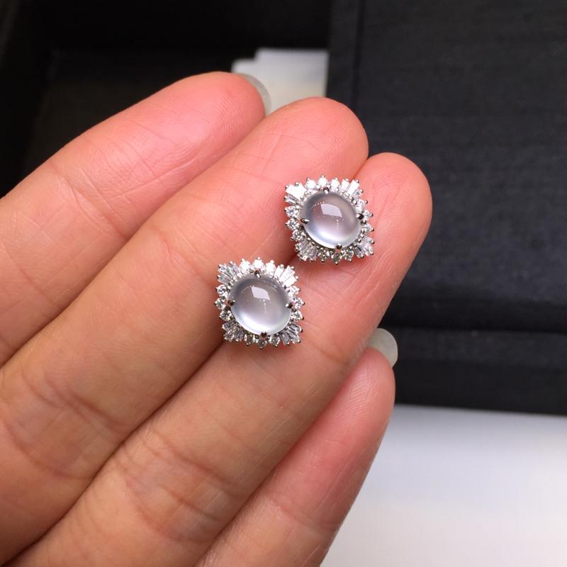 【一对高冰耳钉,底庄细腻,18K金南非真钻镶嵌,无纹裂,性价比高,推荐,尺寸12*10.8*7/6.6*5.6*3.8mm,重量2.42g】图7
