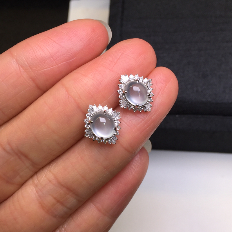 【一对高冰耳钉,底庄细腻,18K金南非真钻镶嵌,无纹裂,性价比高,推荐,尺寸12*10.8*7/6.6*5.6*3.8mm,重量2.42g】图5