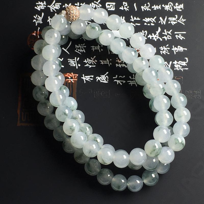 冰种飘花佛珠项链 直径8毫米 种好冰透 飘花灵动 佩戴精美