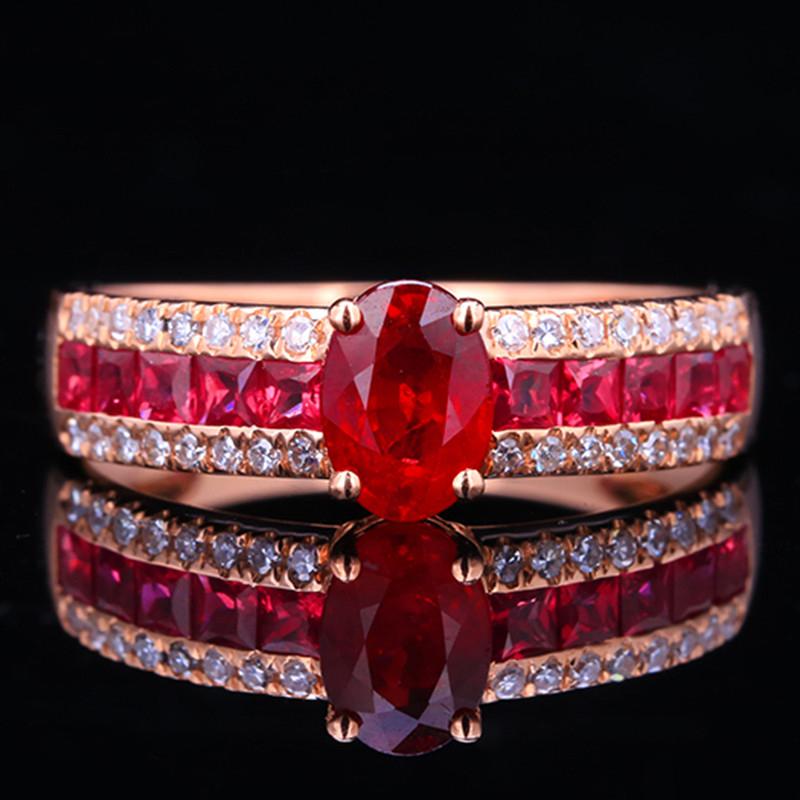 【超值精选】18k金镶鸽血红红宝石戒指
