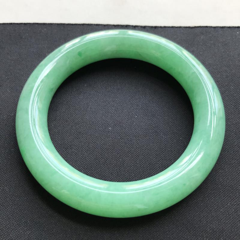 翡翠A货 糯种水润阳绿翡翠圆条手镯 内径尺寸56.1/11.9/11.2