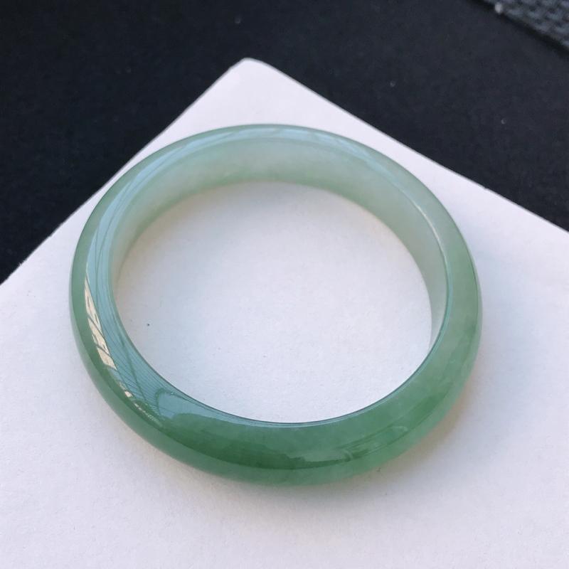 尺寸:58.8/13.1/8.7mm,天然A货翡翠带绿宽边手镯,编号11.25-xiang