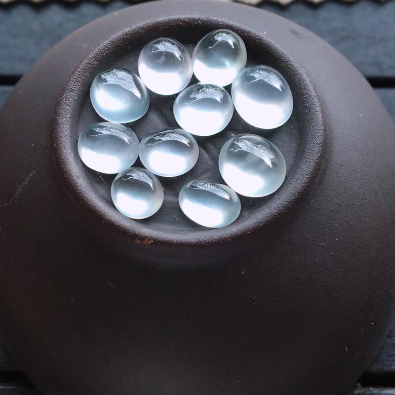 自然光实拍,缅甸a货翡翠,高冰蛋面10颗,种好通透,起荧光,晶莹剔透,纯净无暇,品质高档,大尺寸,7