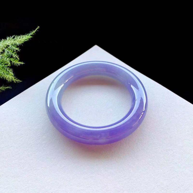 满色茄紫色圆条手镯,自然光不失色,底子细腻,浪漫高贵,种老,无纹裂