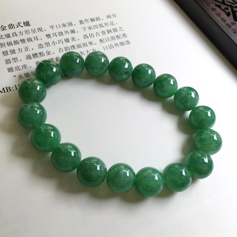 满绿手链 玉质细腻,种老起胶,种水好,上手效果很赞。