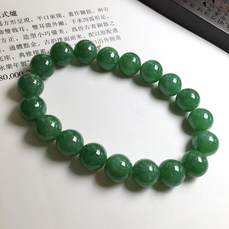 满绿手链 玉质细腻,种老起胶,上手效果很赞。