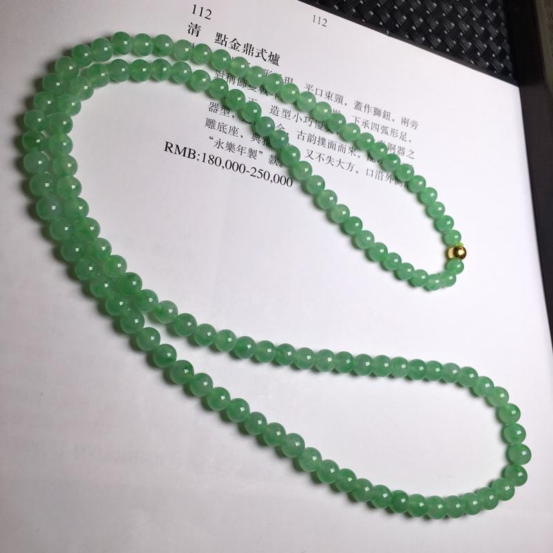 满绿项链 玉质细腻,种老起胶,上手效果很赞。扣子为配饰。颗数:120颗