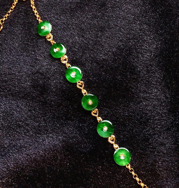 18K金钻镶嵌翠绿平安扣手链 质地细腻  色泽艳丽饱满 款式新颖时尚唯美周长17 尺寸7.4*2