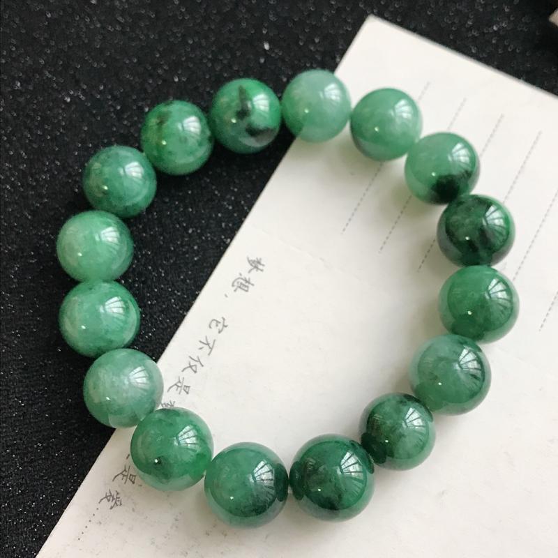 满绿飘花福气手链,尺寸:14mm,翡翠A货,编号:c1103
