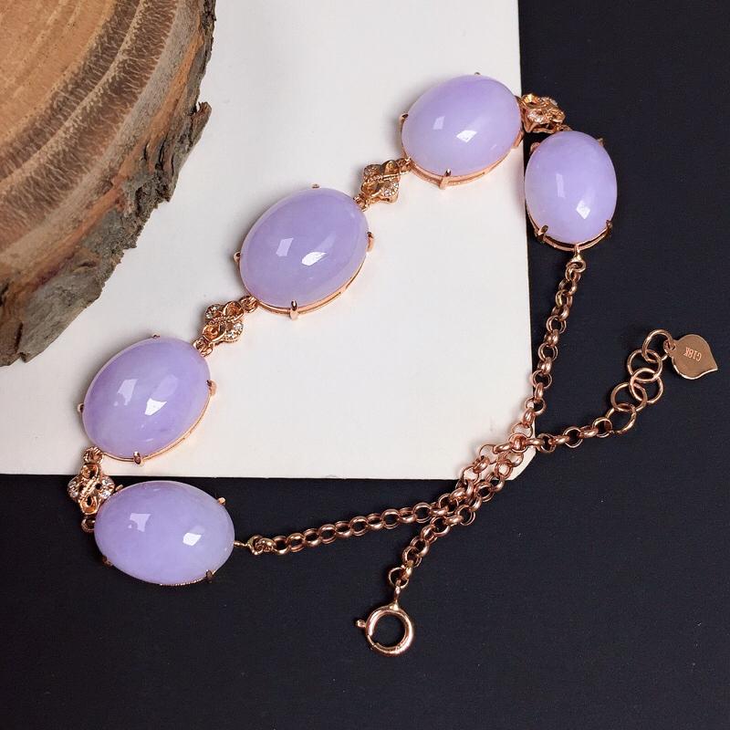 细糯紫罗兰翡翠手链,料子细腻光滑,色泽清新淡雅,单颗裸石尺寸:13.5-10.4-4.9
