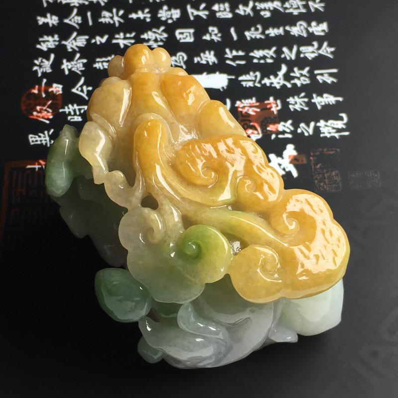 黄加绿貔貅手玩件 尺寸65-42-38毫米 色彩艳丽 雕工精湛