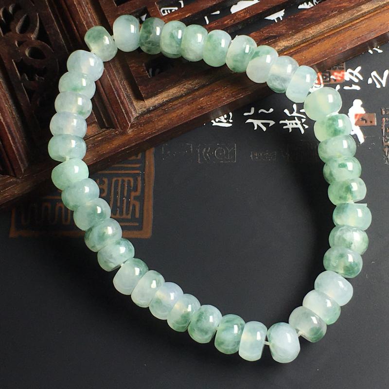 佛珠盘珠手串 盘珠尺寸6-4毫米 玉质水润 飘花灵动