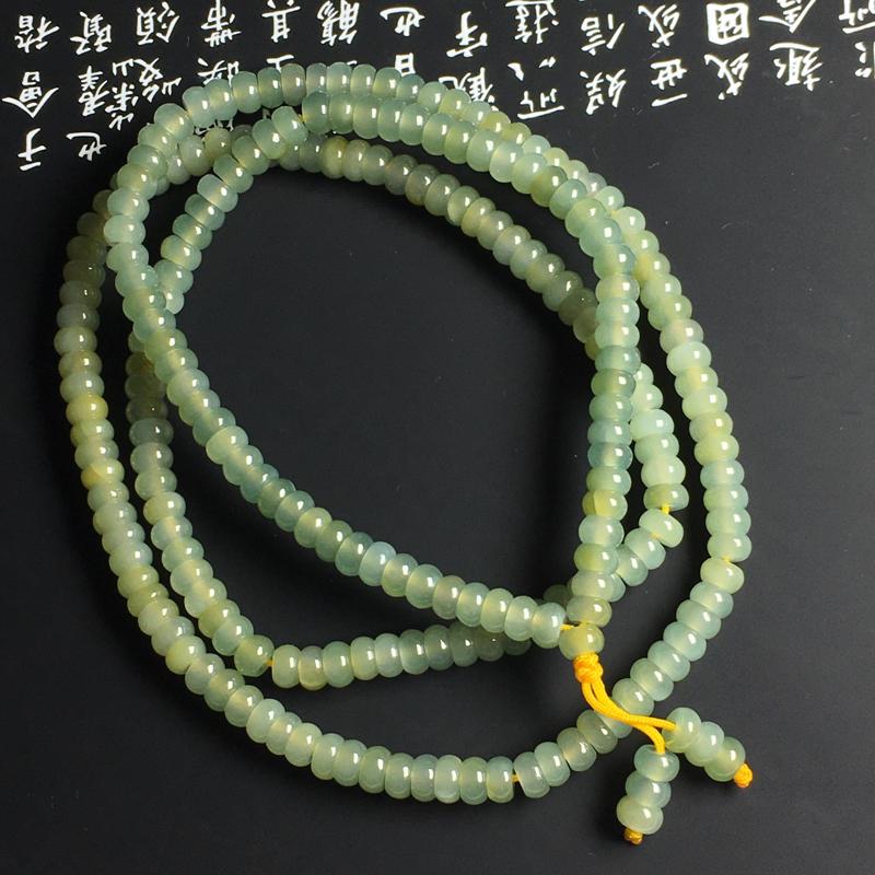 黄翡盘珠项链 盘珠尺寸5-2.6毫米 玉质水润 色彩亮丽