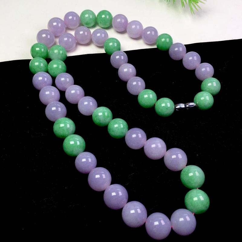 双彩料珠链,色彩艳丽,粒粒饱满,裸石:12.7*12.7