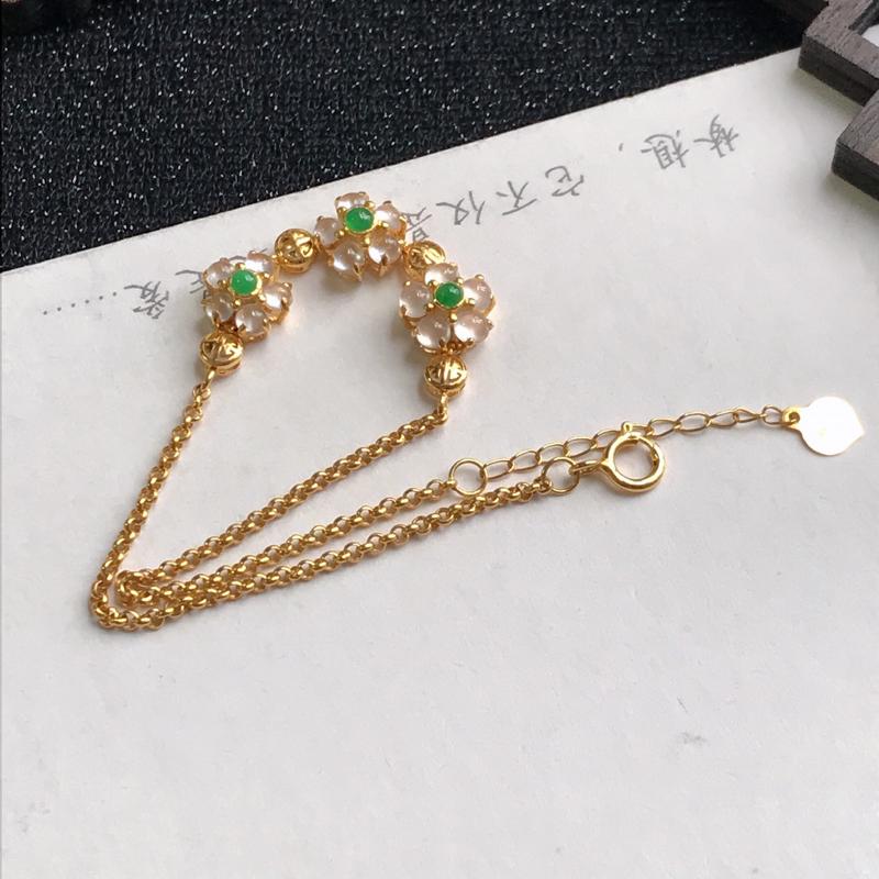 18k金种水好小花手链,裸石尺寸:6.6*7.3*3mm,包金尺寸:180*7.2*5.3mm,翡翠