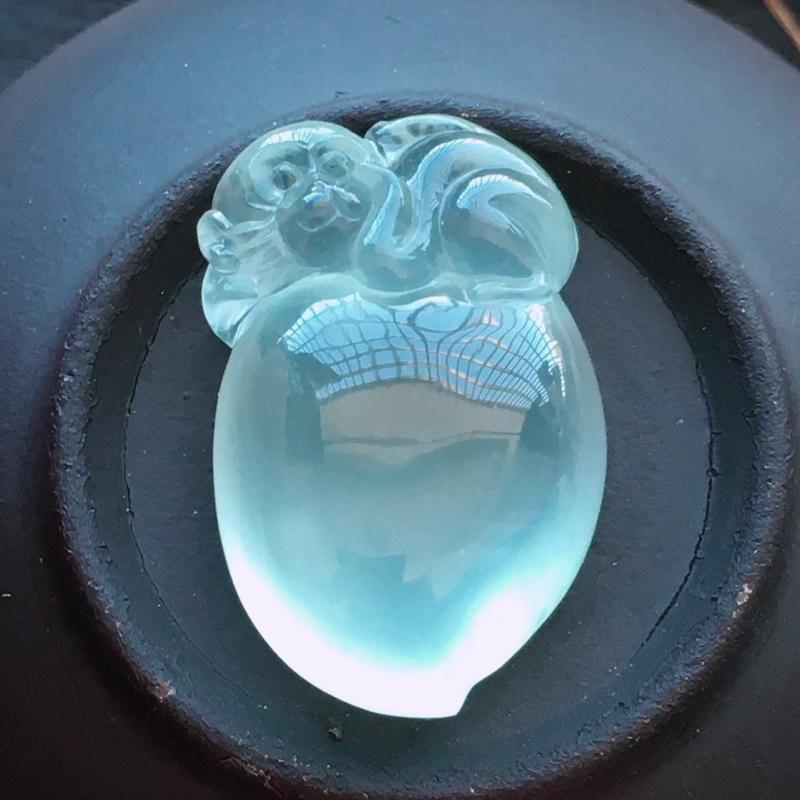 玻璃种福禄寿,自然光实拍,缅甸a货翡翠,猴桃,种好通透,水润玉质细腻,雕刻精细,饱满品相佳,