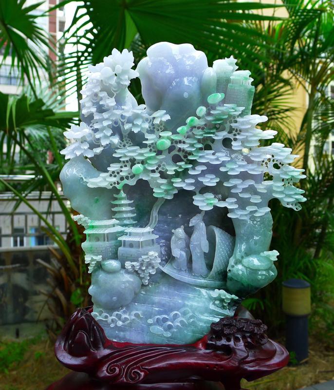 缅甸天然翡翠A货精美 春带彩 高山流水 山水摆件 雕刻精美线条流畅 种水好 层次分明 丰富多彩 搭配