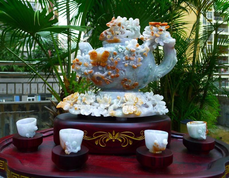 精美黄加绿三彩 茶壶摆件,精美茶盘茶壶摆件一套,缅甸天然翡翠A货 精美摆件 玉质细腻 工艺精湛 种老