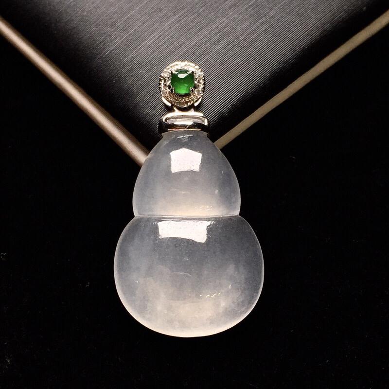 18K金钻镶嵌冰种葫芦吊坠 质地细腻 冰润起光搭配满绿小蛋面 时尚唯美 整体尺寸26*13.6*4.