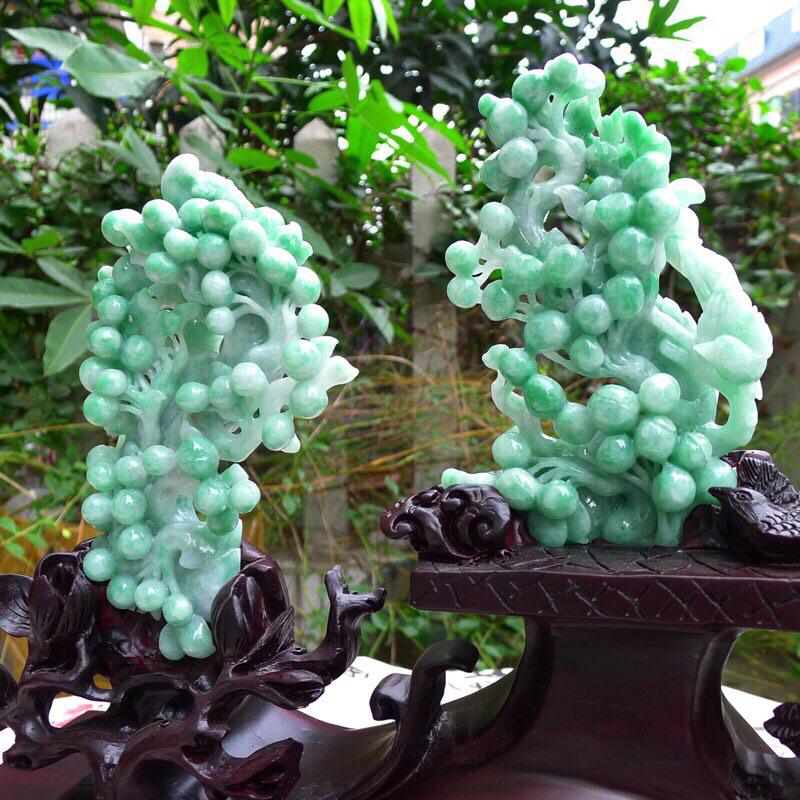 翡翠豆绿水润海棠果,多子多福,硕果累累摆件 裸石尺寸155*90*45/130*80*35mm 连座