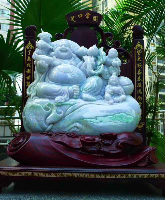 缅甸天然翡翠A货 精美 春带彩 笑口常开 多子多福 吉祥三宝 三个童子 笑佛摆件 雕刻精美线条流畅种