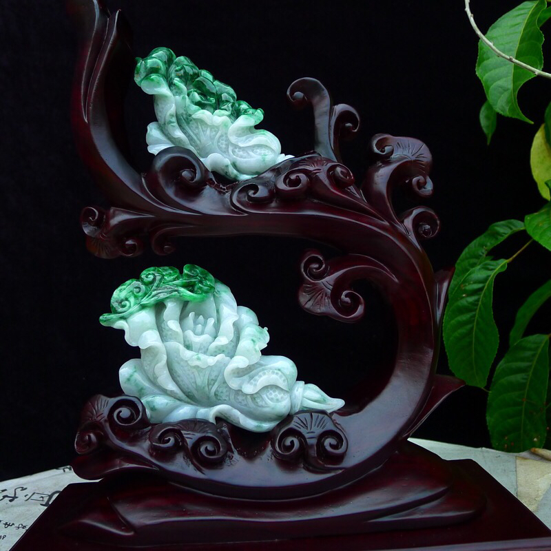 翡翠老坑水润飘阳绿精雕财上加财