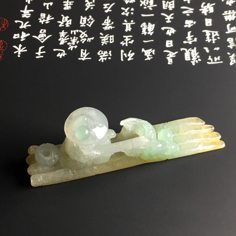 糯化种黄加绿【渔翁/年年有余】小摆件 质地细腻 雕工精湛 色彩艳丽