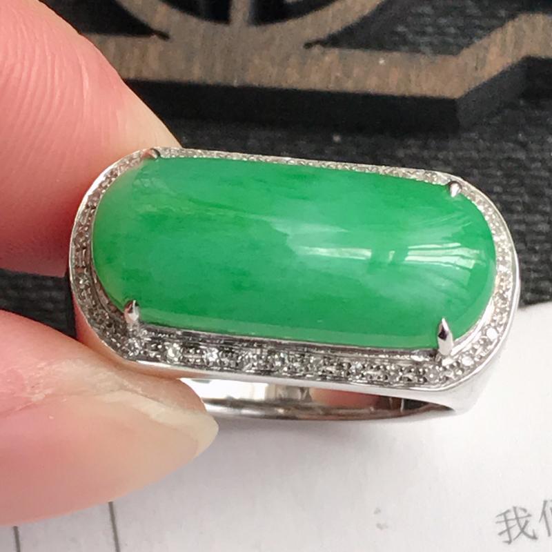 编号:md303,翡翠A货,飘绿18k金伴钻福气戒指,裸石尺寸:19.5*8.7*5mm,包金尺寸:
