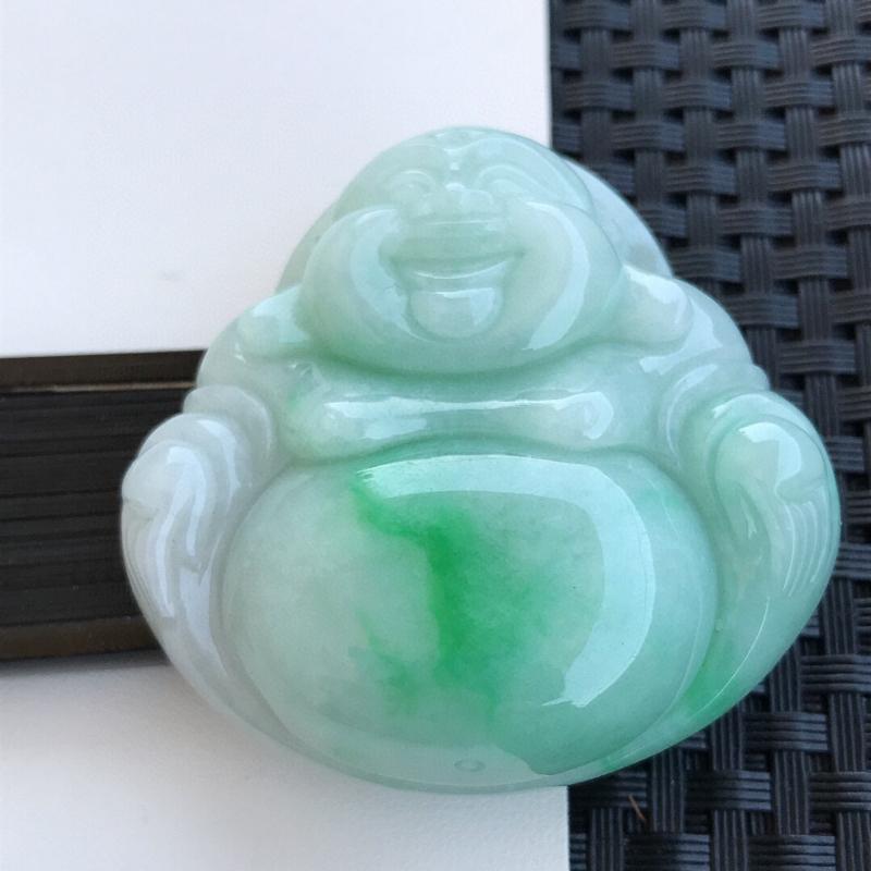天然翡翠A货糯化种水润飘绿饱满玉佛吊坠,裸石52.6-53-14.3mm玉质细腻,种水好 上身效果漂