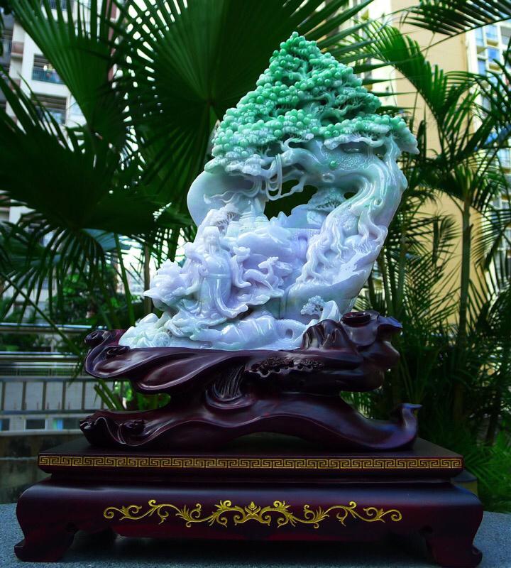 缅甸天然A货翡 精美 一路发财 一路相随 多子多福 发财树摆件 雕刻精美线条流畅 搭配精美高档檀木底