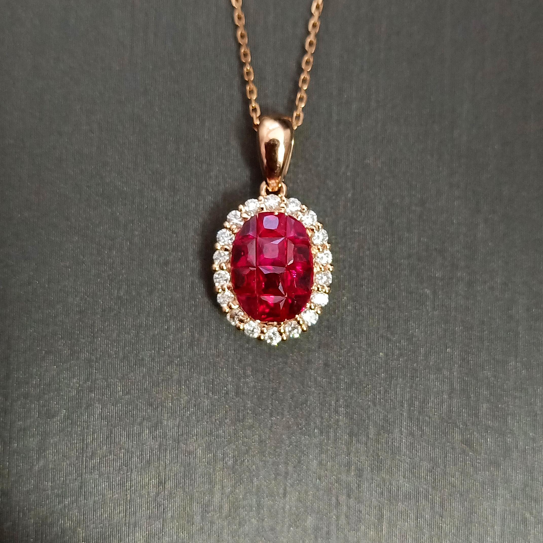 【吊坠】18K金+红宝石+钻石 宝石颜色纯正 主石:0.750ct/12P 货重:1.77g