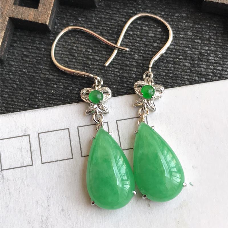 编号:307,翡翠A货,满绿18k金伴钻水滴耳环,裸石尺寸:13.8*8.4*3mm,包金尺寸:35