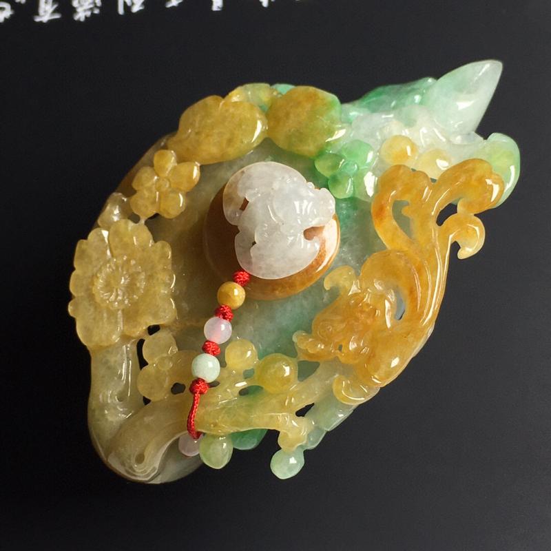 黄加绿茶壶摆件 尺寸82-50-30毫米 色彩艳丽 雕工精湛