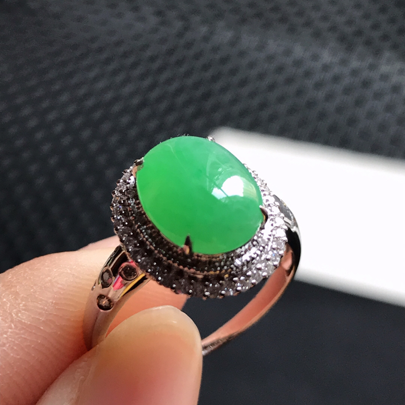 翡翠A货 18k金镶水润满绿翡翠蛋面戒指 内径尺寸17.1/14.1/12/7.6裸石10.4/8.