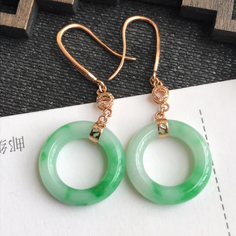 编号:hh,翡翠A货,飘绿18k金伴钻平安环耳环,裸石尺寸:15*3.5mm,包金尺寸:38.2*1
