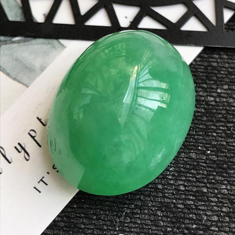 翡翠A货满绿福气戒面可镶嵌,尺寸24.1*18.7*13.9mm