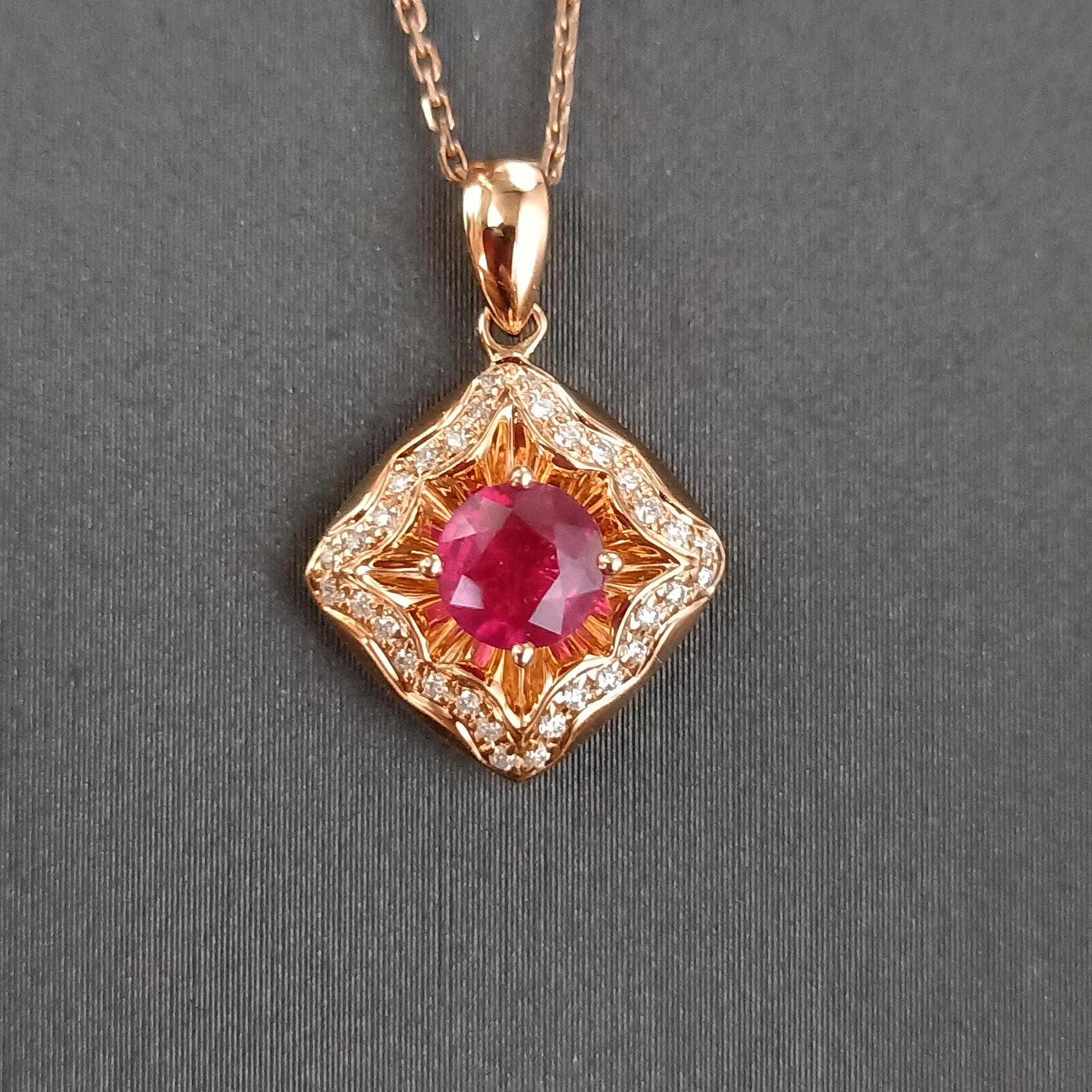 【吊坠】18K金+红宝石+钻石 宝石颜色纯正 主石:0.54ct/1P 货重:2.23g
