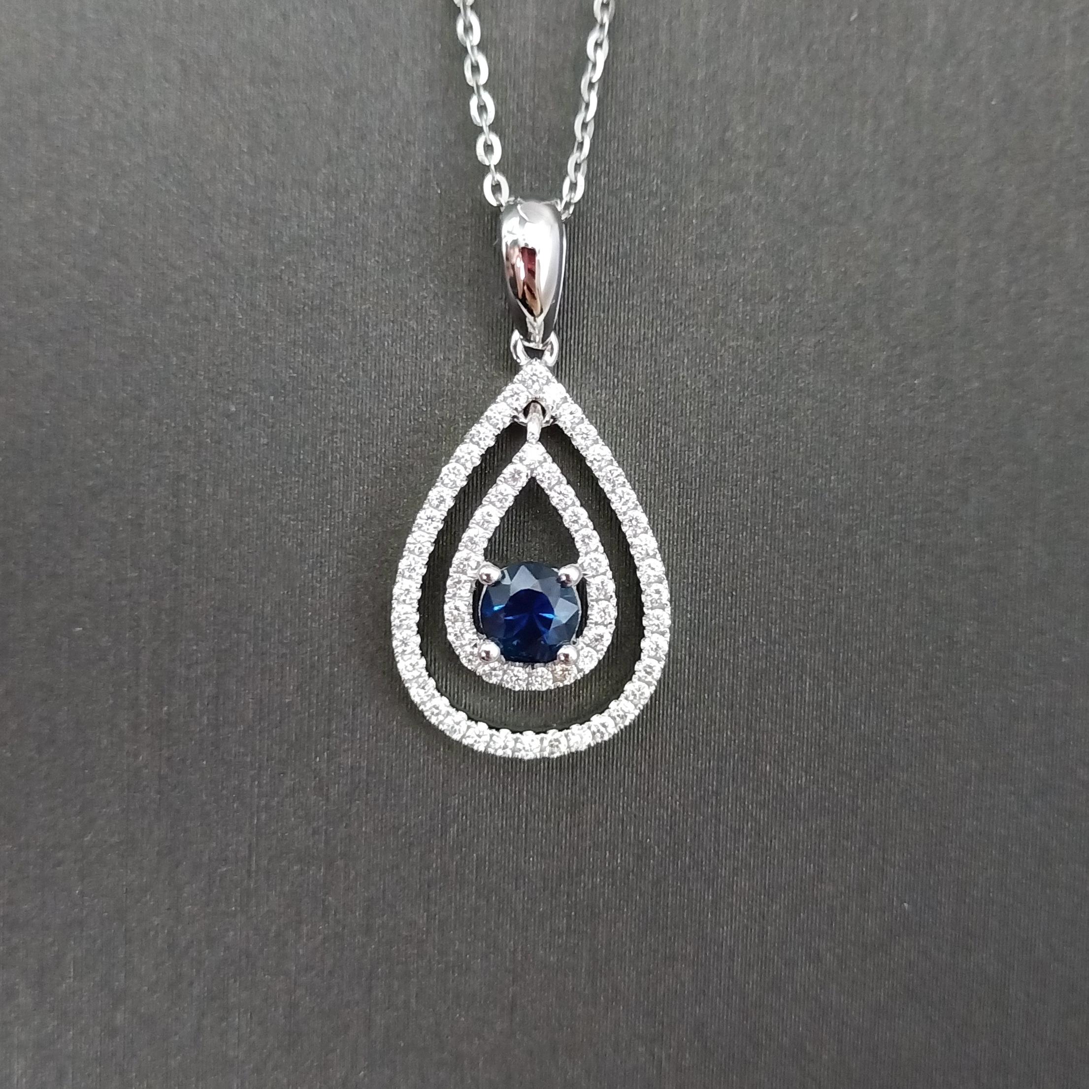 【吊坠】18K金+蓝宝石+钻石 宝石颜色纯正 主石:0.31ct/1P 货重:1.84g