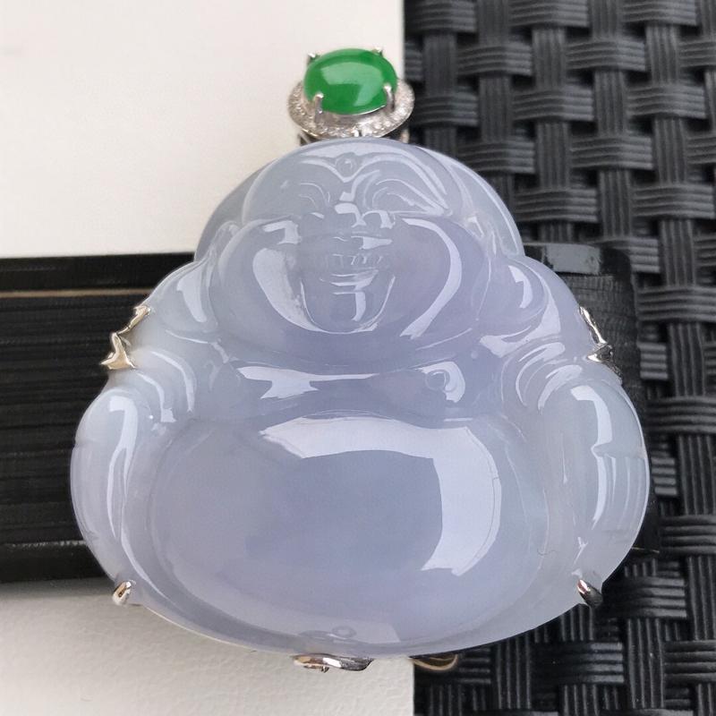 天然翡翠A货18K镶金伴钻糯化种水润紫罗兰饱满玉佛吊坠,含金45.7-37.5-11.5mm,裸石3