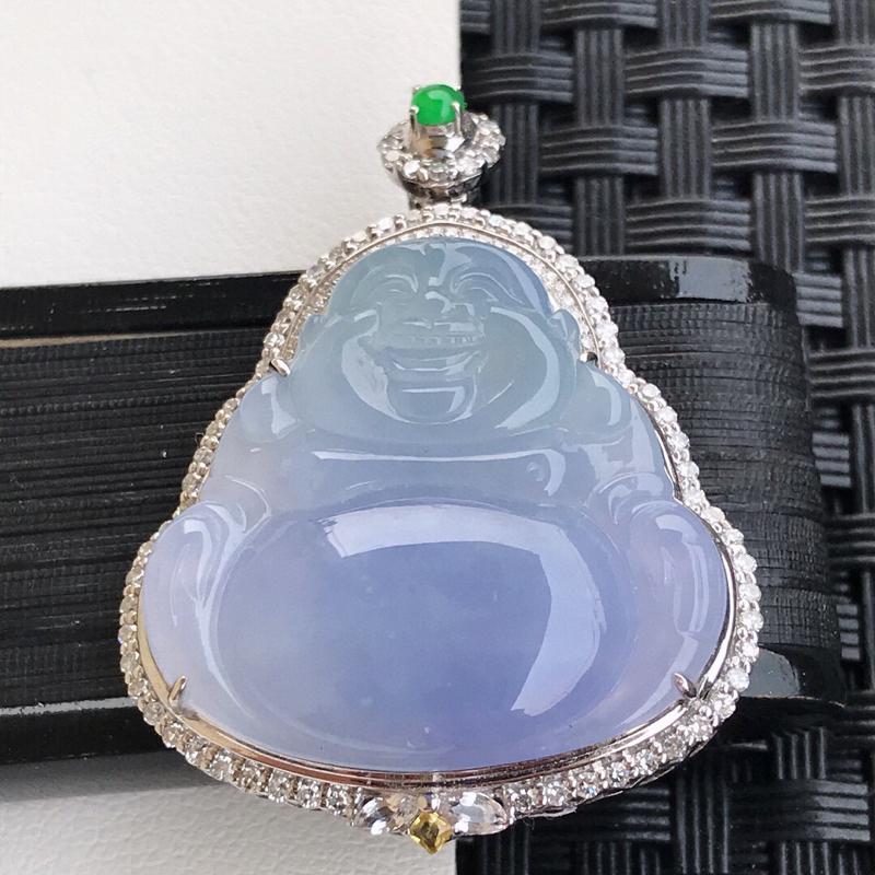 天然翡翠A货18K镶金伴钻糯化种水润紫罗兰玉佛吊坠,含金37.5-28.3-8.5mm,裸石24.7