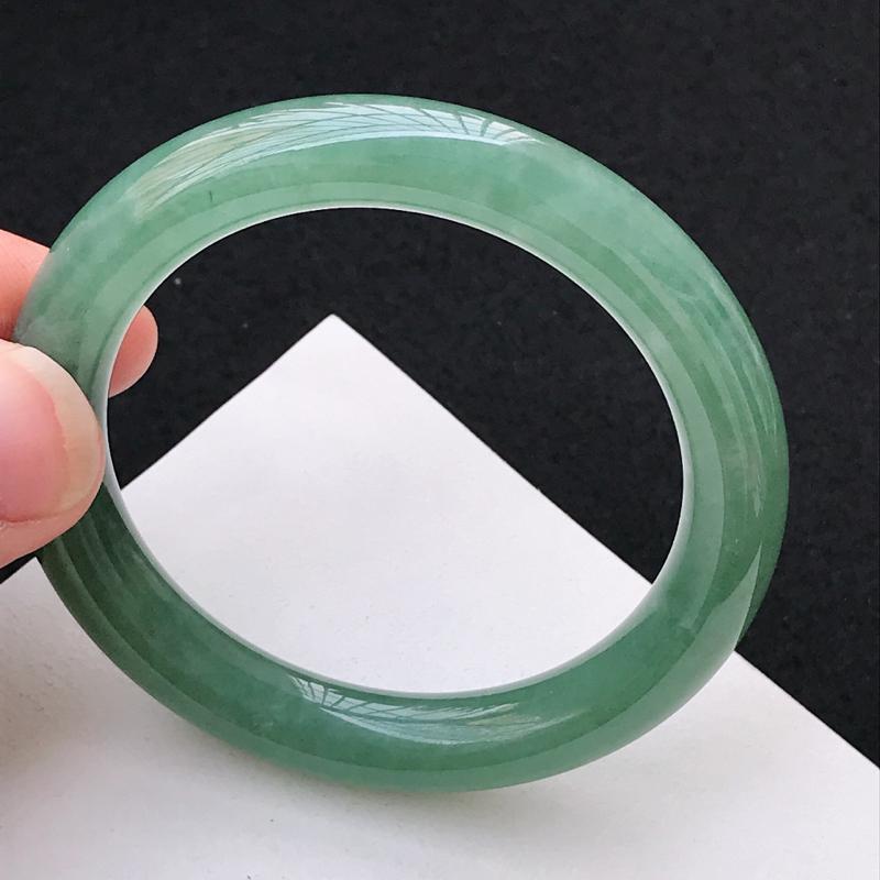 尺寸54.6/10mm,天然A货翡翠圆条手镯,编号1.16-lj