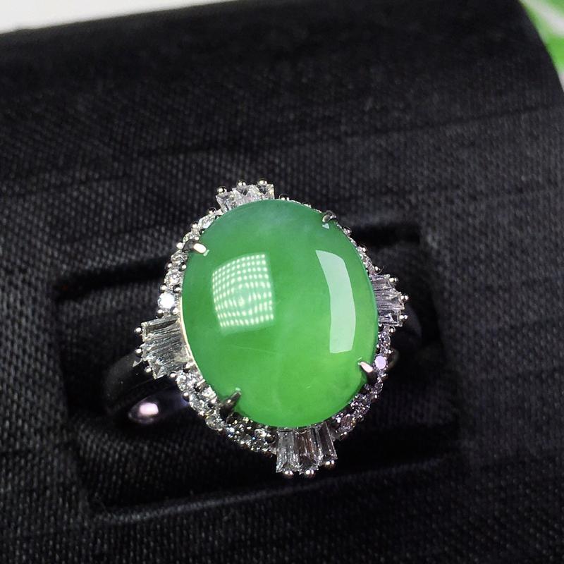 🌸冰飘绿花戒指,花色靓丽,种老冰透,裸石:12.3*10.3*2.5 整体:16.7*15.5*7.