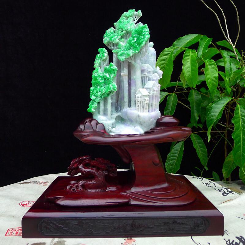 (万古长青)翡翠正阳绿精雕江南水乡,春带彩紫罗兰底色,风情独美,精品摆件 裸石尺寸220*130*8