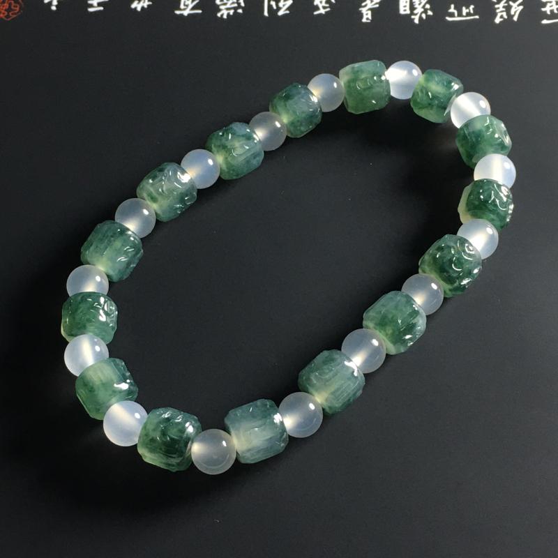 冰种飘花六字真言手串 15颗 尺寸6-7毫米 种好冰透 色泽亮丽 隔珠属装饰品