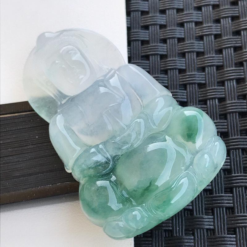 【天然翡翠A货冰糯种飘绿种水正装观音吊坠,裸石53.5-34.2-6.8mm玉质细腻,种水好 上身效果漂亮】图2