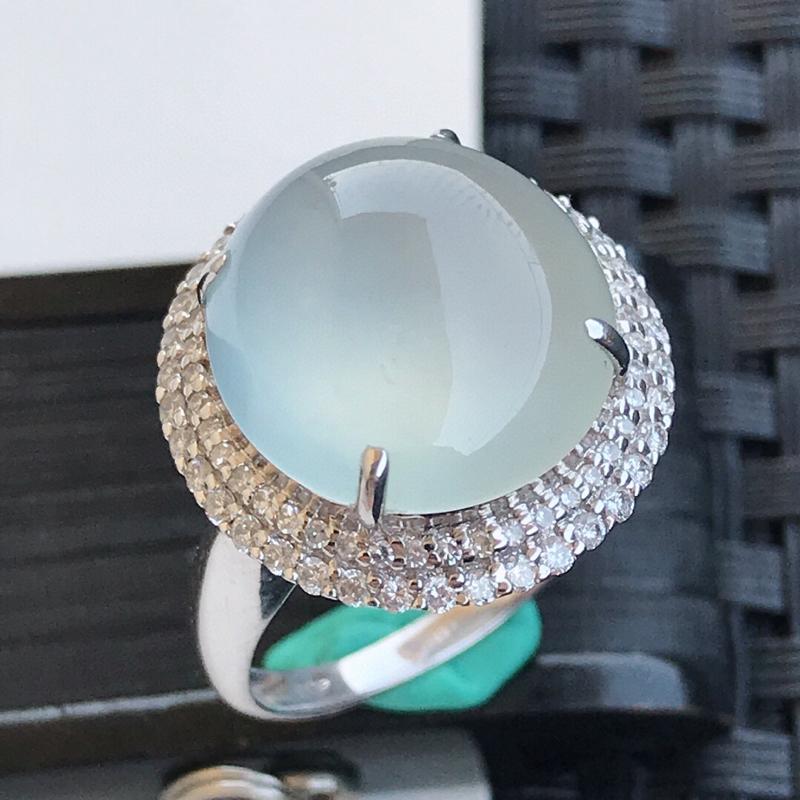 天然翡翠A货18K镶金伴钻冰种起光白冰种水戒指,内径17.3mm,裸石13.8-13.6-5.7mm